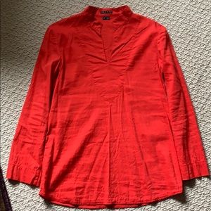 Valentines red Theory tunic top, size petite